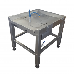 Gizzard Inspection Table with double peeling rollers and washers for cleaning stomachs which weren't properly or fully processed by the Gizzard Harvester Machine
