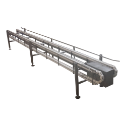 Straight chain-driven crate conveyor
